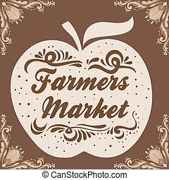 農夫, 型, 印刷である, market., poster.
