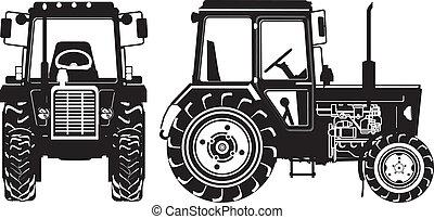 農業, シルエット, ベクトル, トラクター