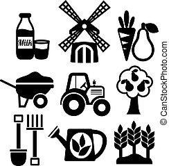 農業, セット, 農業, 収穫する, アイコン