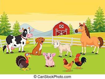農業, 漫画, 背景, 動物, 農場