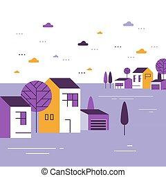 近所, 住宅の, 美しい, 小さいグループ, ごく小さい, 家, 町, 村, 光景