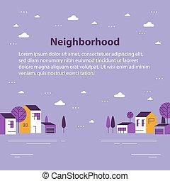 近所, 住宅の, 美しい, 小さい, ごく小さい, 軒続き家屋, 町, 村, 光景