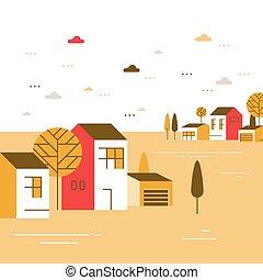 近所, 町, 美しい, 光景, 小さい, 村, 住宅の, 季節, 秋, ごく小さい, 家, グループ