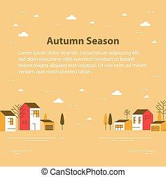 近所, 町, 美しい, 光景, 小さい, 村, 住宅の, 季節, 秋, ごく小さい, 家, 横列