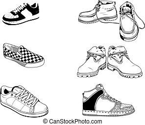 通り, 靴, 男性
