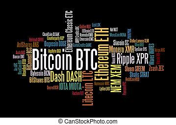 通貨, 単語, crypto, 雲