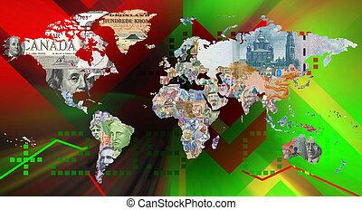 通貨, 背景, 世界地図