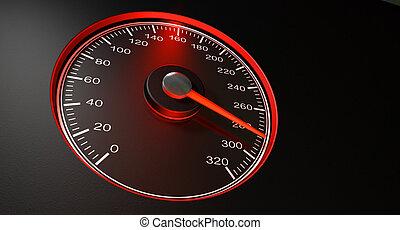 速度計, スピード, 赤, 速い