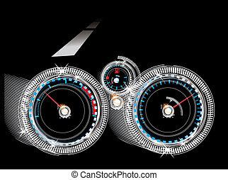 速度計, レベル, 回転速度計, -, ダッシュボード, 自動車, 燃料, センサー