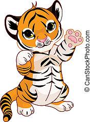 遊び好きである, tiger, かわいい, 幼獣