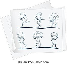 遊び好きな子供たち, ペーパー, 図画