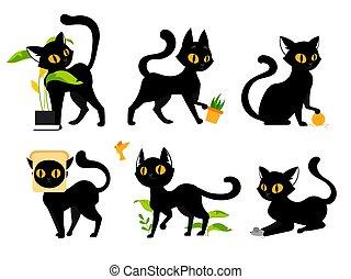 遊び, ベクトル, カラフルである, マウス, 愛らしい, 平ら, concept., cats., スタイル, ボール, 動物, ペット, 国内, ポット, 植物, つかまえること, 面白い, イラスト, 蝶, いたずら好きである, キティ, threads., セット