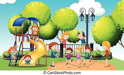 遊び, 公園, 公衆, 子供