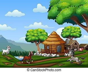 遊び, 家畜, 農地