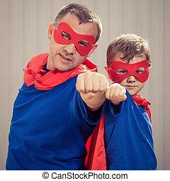 遊び, 屋外で, 父, 息子, 日, time., superhero