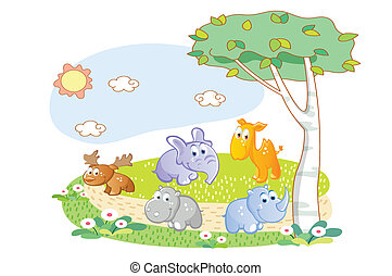 遊び, 庭, 動物, 若い