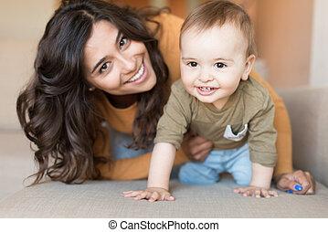 遊び, 赤ん坊, 彼女, 母