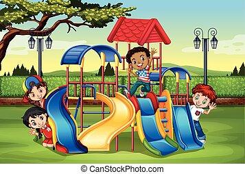 遊び, 運動場, 子供