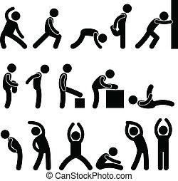 運動, 伸張, 練習, 人々