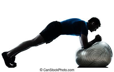 運動, 試し, ボール, 人, フィットネス, 姿勢