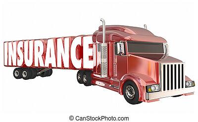 運転手, 保険担保, 戦略, 貨物, イラスト, トラック輸送, 3d