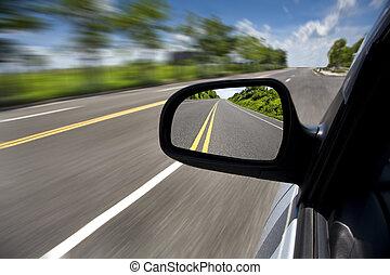 運転, 自動車, フォーカス, によって, 道, 鏡, 空