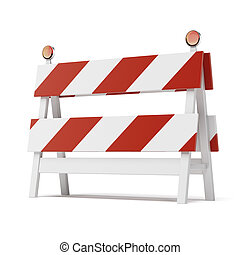 道路封鎖ブロック, 背景, 白, 隔離された