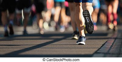 道, ランナー, 都市, マラソン, 動くこと
