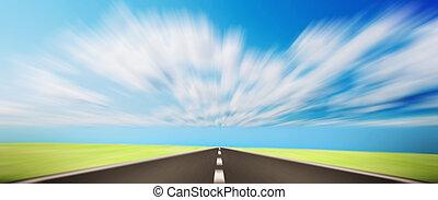 道, 上に, 急行, 姿を消す, 地平線