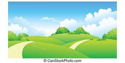 道, 上に, 曲がった, 風景, 緑