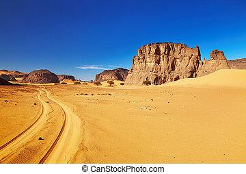 道, 砂漠, アルジェリア, sahara, tadrart
