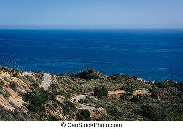 道, m, 太平洋, decker, 峡谷, カーブ, 光景