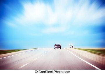 道, umbrella., アスファルト, 嵐である, sky., 自動車, 劇的, countryside., 売り手, 動き, copy-space., blur., 曇り, 路傍, スピード違反, 下に, カラフルである, 後部光景