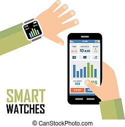 適用, 追跡者, wrist., smartwatch, フィットネス
