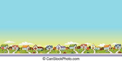 郊外, カラフルである, 家, neighborhood.