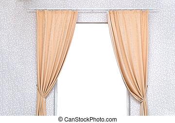 部屋, ライト, ドア, カーテン, 上に