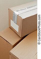郵便, クローズアップ, 包み, ボール紙