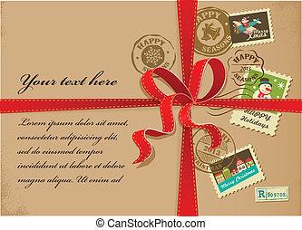 郵送料, 贈り物, 型, スタンプ, リボン, クリスマス, 赤