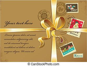 郵送料, 贈り物, 金, 型, スタンプ, クリスマス, リボン