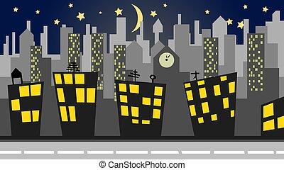 都市の景観, イラスト, 夜