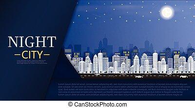 都市の景観, グループ, 超高層ビル, night.