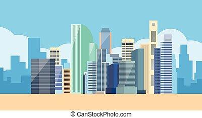 都市の景観, 大きい, 光景, 都市 スカイライン, 現代