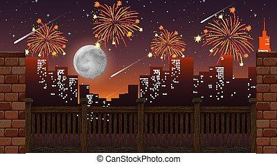 都市の景観, 花火, 祝福, 光景, 橋