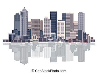 都市の景観, 都市, 背景, 芸術