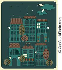 都市眺め, 夜