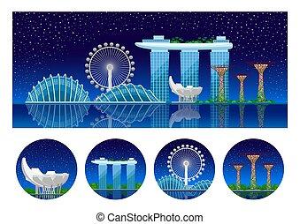 都市眺め, night., singapore., パノラマである