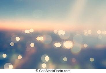 都市, の上, 現場, ぼやけた背景, 夜明け