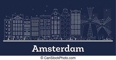 都市, アウトライン, スカイライン, 共和国, オランダ, アムステルダム, 白, 建物。