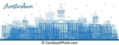 都市, アムステルダム, アウトライン, スカイライン, 建物。, オランダ, 青
