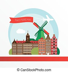 都市, アムステルダム, netherlands, 現代, スカイライン, design.